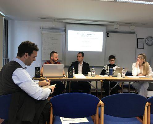 Es diskutieren bei der BASEES2017: Johannes Leitner, Stoycho P. Stoychev, Hannes Meissner, Oleana Kryshko und Victoria Zipperer