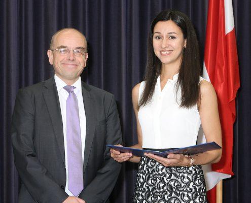 Franz Haslehner presented Black Sea Region Excellence Award to Nataliia Garbuz