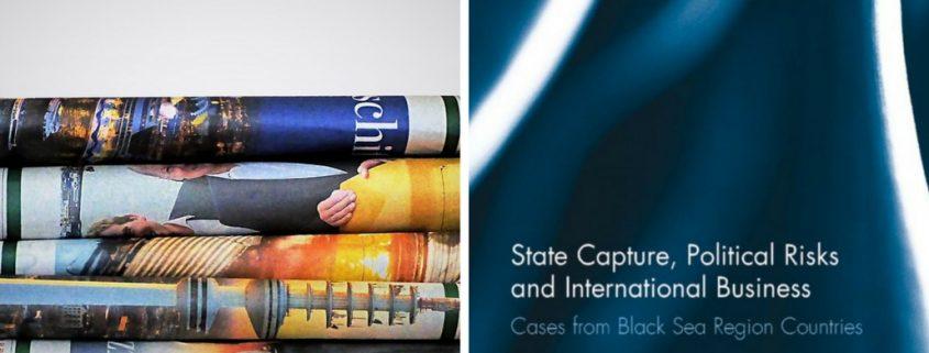 """Zeitungsartikel und Buchcover """"State Capture, Political Risks and International Business"""""""