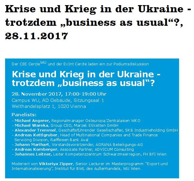 """Veranstaltungshinweis zu Krise und Krieg in der Ukraine - trotzdem """"business as usual""""?"""