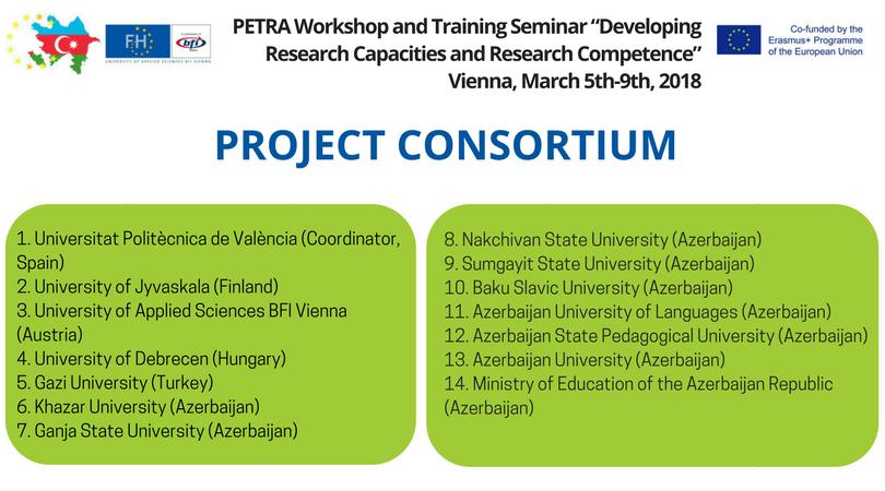 Auflistung des PETRA Projektkonsortiums
